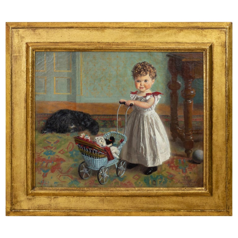 Portrait of a Little Girl in Interior, Oil on Canvas, 1897 For Sale