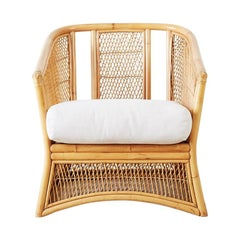 Midcentury Bamboo Rattan Wicker Lounge Chair