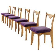 6 Guillerme et Chambron Dinner Chairs, France, circa 1960s