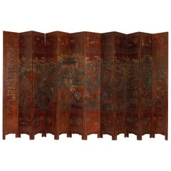 K'ang Hi Marked 1622-1661 12-Fold Chinese Screen