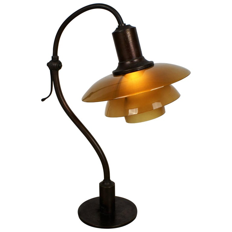 Poul Henningsen 2/2 'Question Mark' Desk Lamp with Amber Colored Glass, 1930s For Sale
