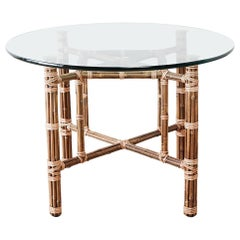 McGuire Organic Modern Bamboo Rattan Dining Table