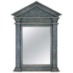 Midcentury Faux Marble Pediment Mirror