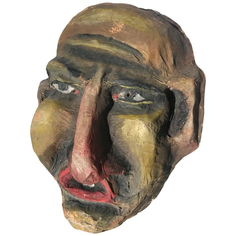 "Unusual Vintage Paper Mache Folk Art, Parade ""Carnival"" Mask For Sale"