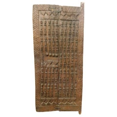 Ancient Wooden Door of African Tribal Chieftain