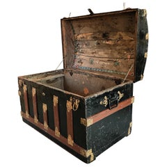 "Hand Painted Pirate Style Early-20th Century Arched Continental ""Treasure"" Chest"