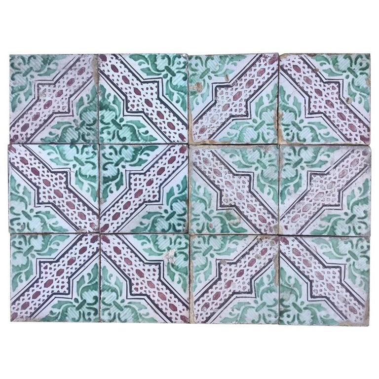 20th Century Italian Vintage Reclaimed Decorated Tiles, 1920s For Sale