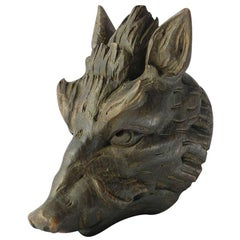 Antique Carved Wood Boar Head French Sculpture Wild Pig, circa 1890