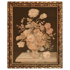 Early Machine Loom Floral Italian Tapestry in Mid-20th Century Giltwood Frame