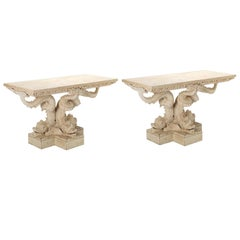 Pair of Dolphin Pedestal Tables in the Manner of William Kent