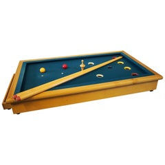 Small Table Poolgame with 2 Billiard Cues from the 1950s