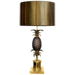 Large Vintage Brass and Bronze Pineapple Lamp Attributed to Maison Charles