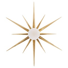 1 of 5 Starburst Brass and Glass Flush Mount in the manner of Angelo Lelli