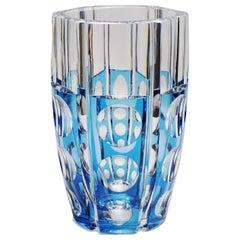 Large Art Deco Val Saint Lambert Blue Cerbere Glass Vase