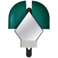 Bonnet Mirror Green Made of Minerals, Resin , Gold-Plated and Copper-Plated