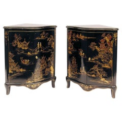 Pair of Louis XV Style Corner Cabinets, Black Lacquer, Chinese Decor, circa 1900