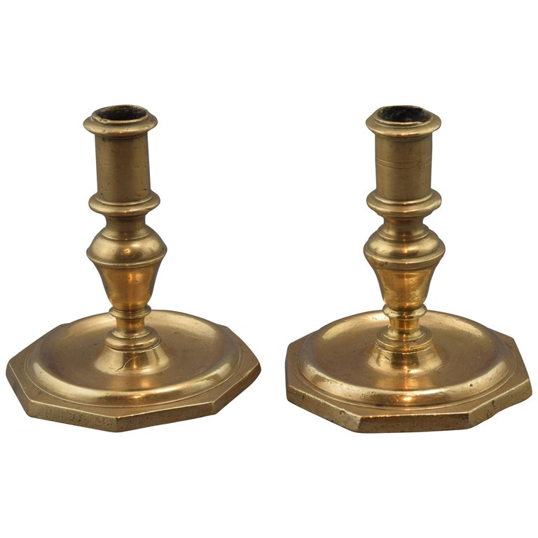 Pair of Candleholders, Bronze, 18th Century For Sale