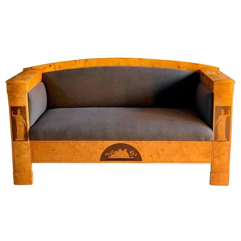 Fabulous Antique Austrian Biedermeier Sofa Satin Birch, 19th Century circa 1830 For Sale