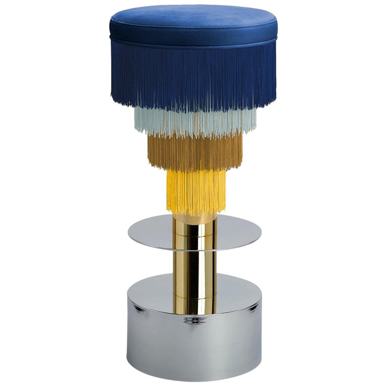 Deja Vu Blue and Yellow Stool with 24-Karat Gold-Plated Metal and Velvet Fringes For Sale