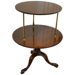 18th Century Georgian Mahogany Antique Two Tier Circular Occasional Lamp Table