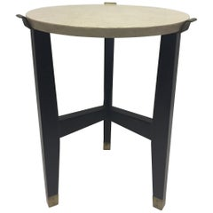 Sophisticated Travertine and Ebonized Side or Occasional Table