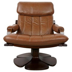 Scandinavian 1970s Design Wooden and Leather Swivel Armchair