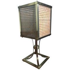 Mid-Century Modern Italian Brass Table Lamp with Vienna Straw and Plexiglass