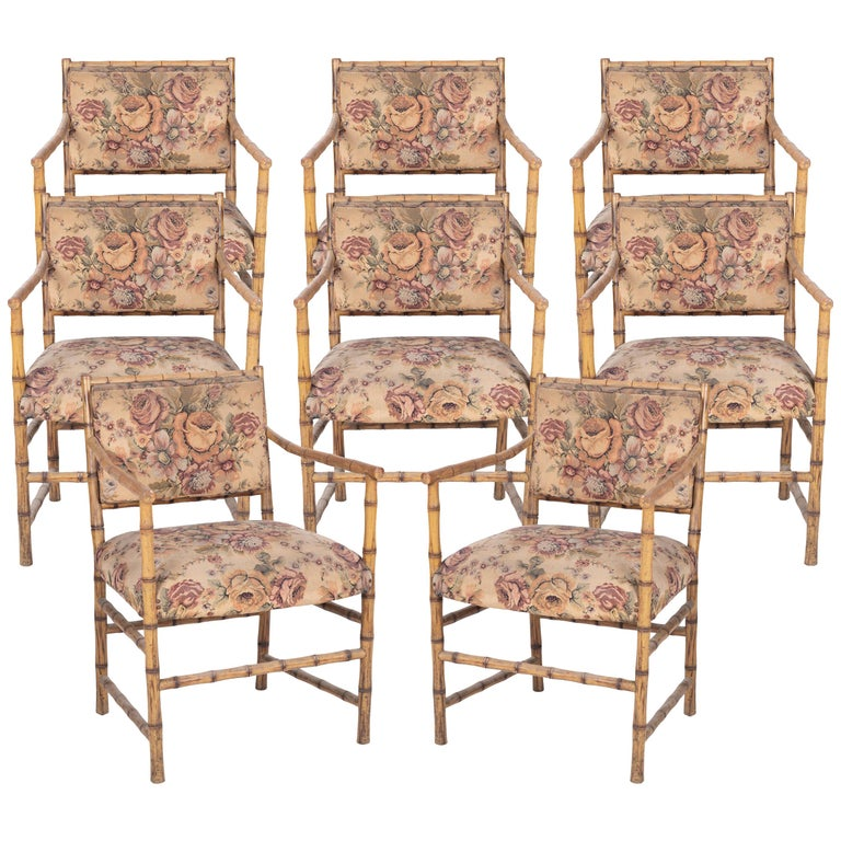 1950s Set of Eight English Bamboo Upholstered Armchairs For Sale