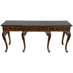 20th Century Large Console Table with Three Drawers Walnut Inlays and Marble Top