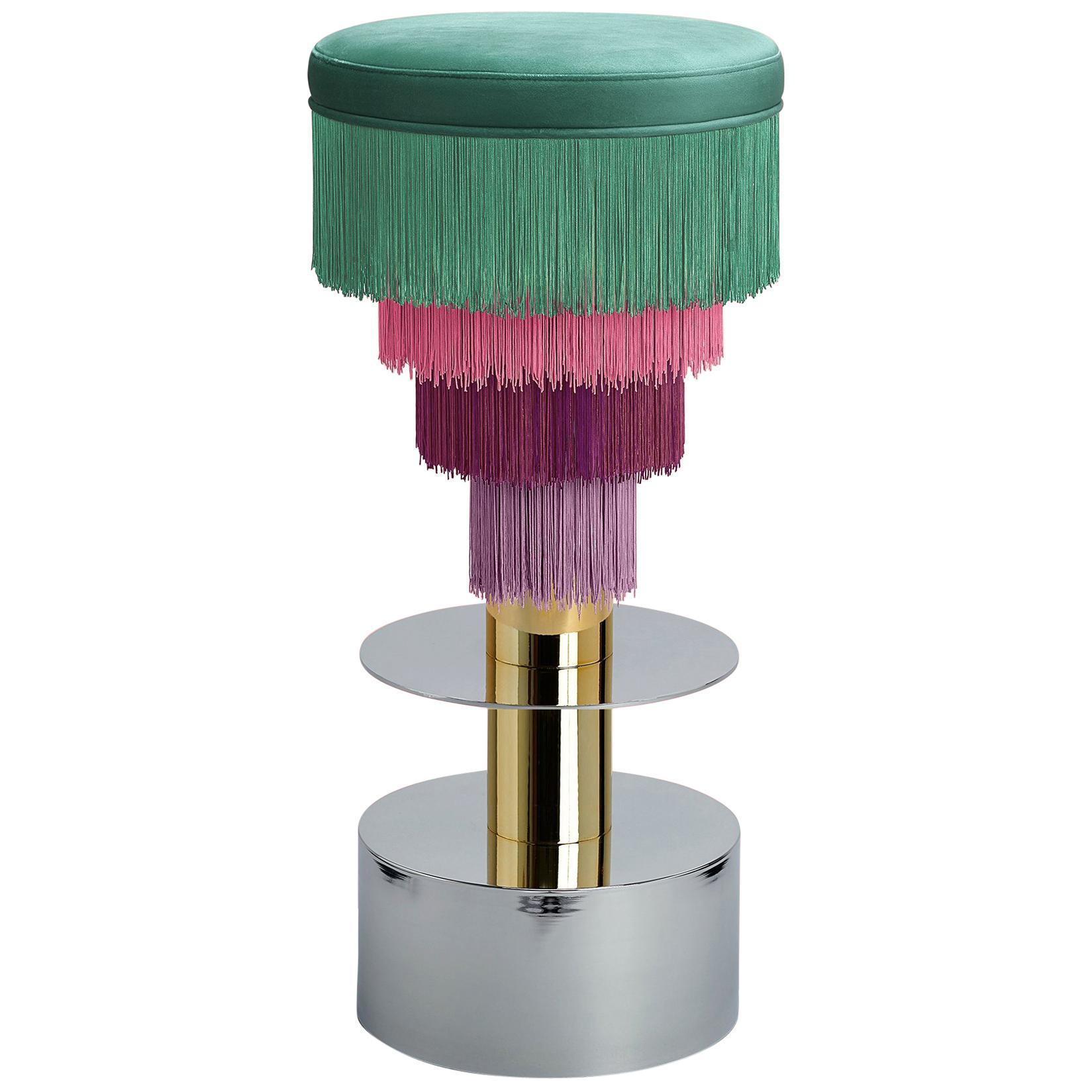 Deja Vu Green and Pink Stool with 24-Karat Gold-Plated Metal and Velvet Fringes
