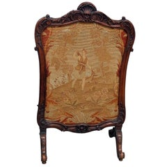 Antique French Louis XV Needlepoint Fireplace Fire Screen