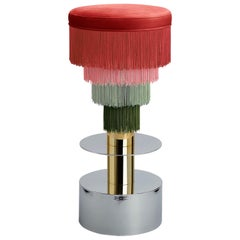 Deja Vu Red and Green Stool with 24-Karat Gold-Plated Metal and Velvet Fringes