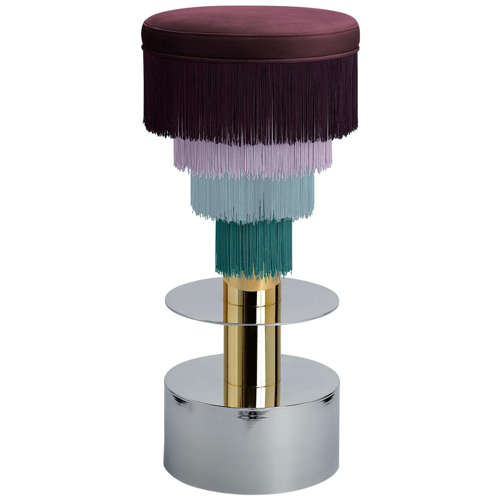 Deja Vu Wine and Pink Stool with 24-Karat Gold-Plated Metal and Velvet Fringes
