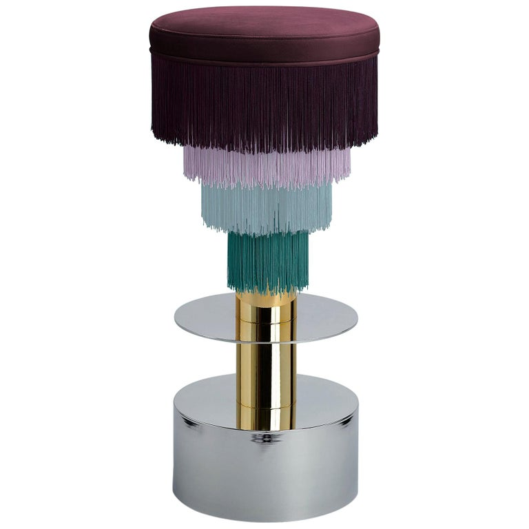 Deja Vu Wine and Pink Stool with 24-Karat Gold-Plated Metal and Velvet Fringes For Sale