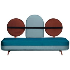 Jimi Sofa in Blue and Red Velvet and Upholstery