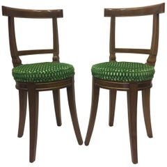 Smart Pair of Baker Fruitwood and Cut Velvet Side Chairs