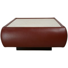 Leather and Travertine Square Coffee Table
