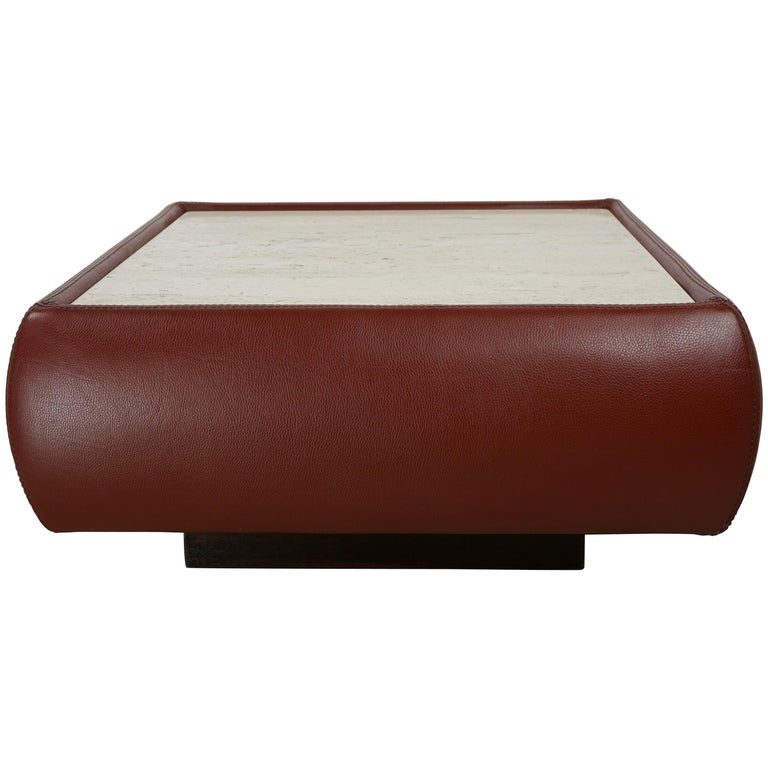 Leather and Travertine Square Coffee Table For Sale