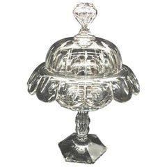 English 19th Century Crystal Lidded Coupe