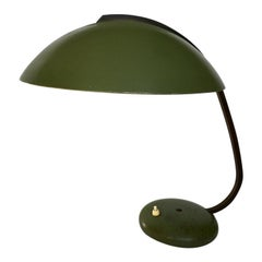 Bauhaus German Green Metal and Brass Desk Lamp, 1930s