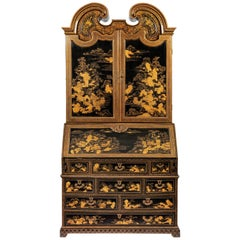 Very Fine and Rare Chinese Export Black and Gold Bureau Cabinet