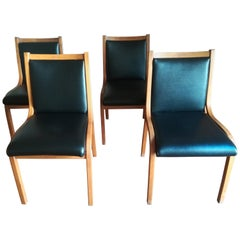 Architetti Associati Set of Four Bentwood Black 'Cavour' Dining Chairs, 1960s