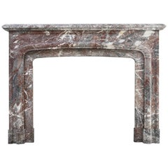 Antique Mantelpiece of Marble 'Rouge Belge', 19th Century, Louis XIV