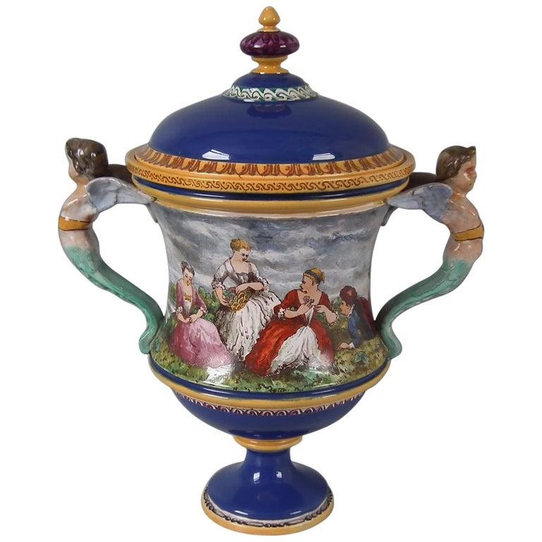 Minton Tin-Glazed Majolica Pictorial Lidded Vase For Sale