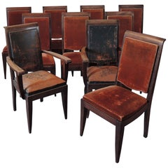 Set of 10 French Art Deco Mahogany Chairs by Gaston Poisson '8 Side and 2 Arm'