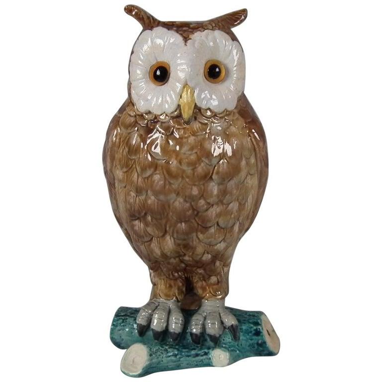 Brown Westhead Moore Majolica Owl Figure For Sale