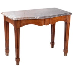18th Century French Wooden Console Table with Marble Top