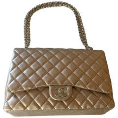 Chanel Gold Leather Maxi Handbag Timeless Collection, 2011