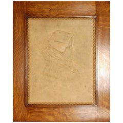 Mid-19th Century Plaster Portrait  Relief of Tudor Female in a Custom Oak Frame