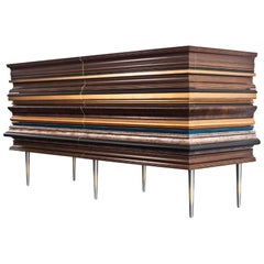 Contemporary Crafted Gold Leaf and Darkened Wood Molding Credenza by Luis Pons